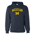 Michigan Arch Logo Badger Hoodie - Navy