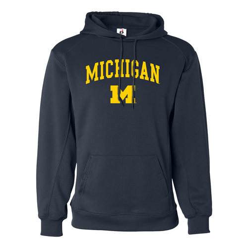 Arch Logo University of Michigan Badger Fleece Hoodie - Navy