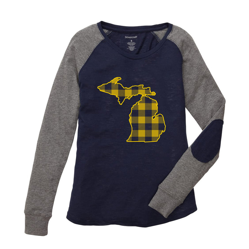 Plaid MI Oultine Youth Preppy Patch Long Sleeve - Navy/Granite