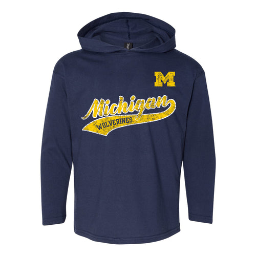 Tail Script University of Michigan Anvil Youth Long Sleeve Hoodie - Navy