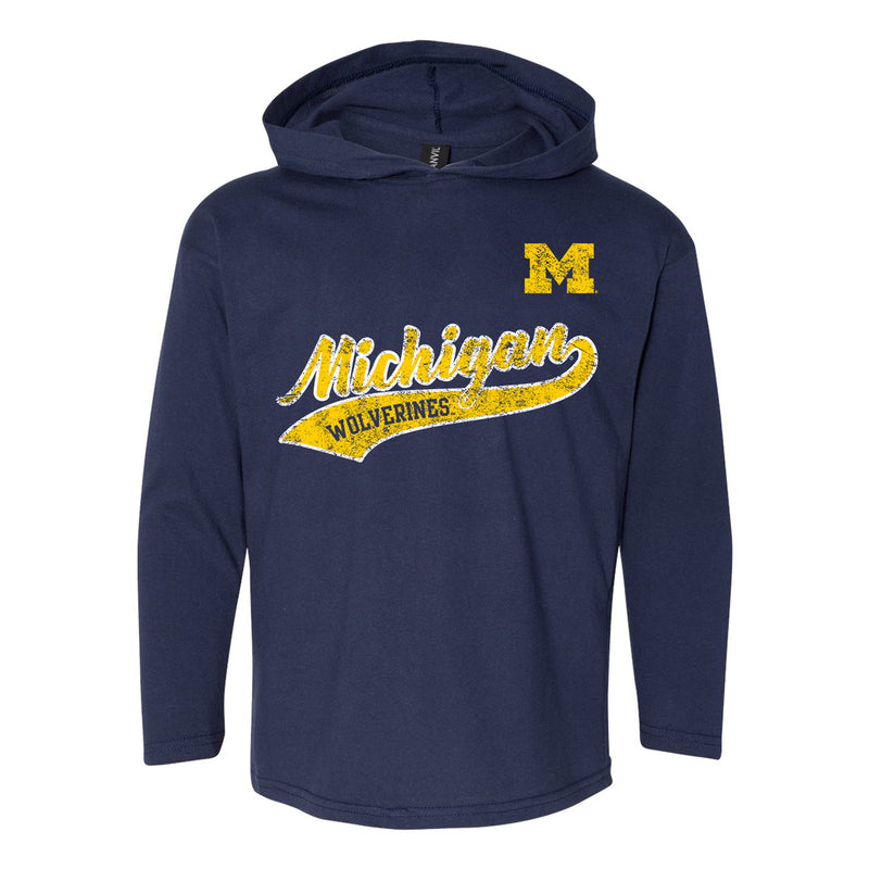 Michigan Tail Script Youth LS Hooded Tee - Navy