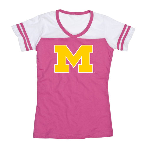 Outline Primary Logo University of Michigan Boxercraft Girls Powder Puff T Shirt - Fuchsia