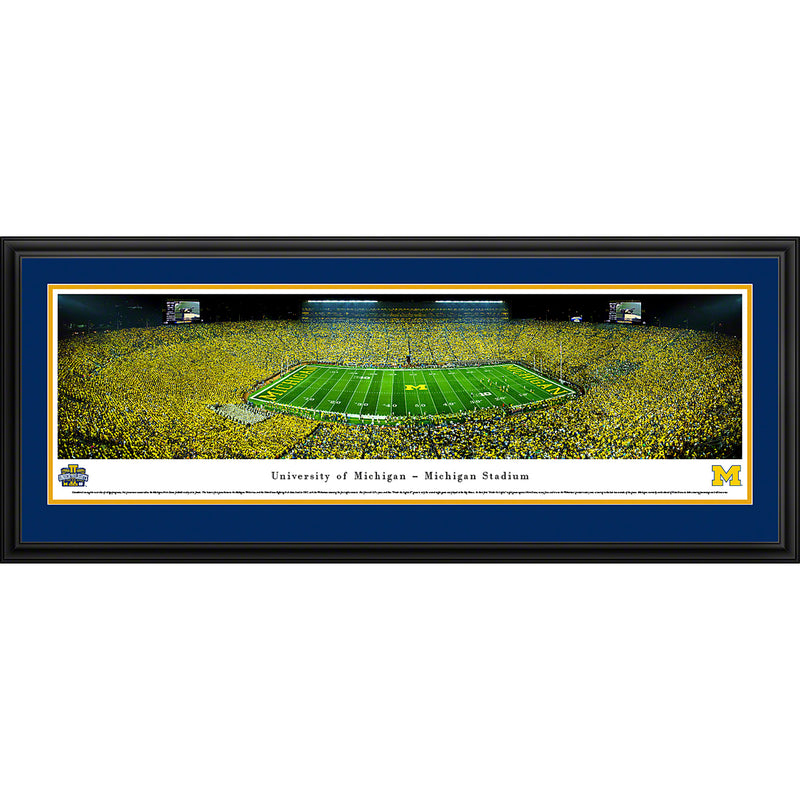 University of Michigan Wolverines Football - 50 Yard - Night - Deluxe Frame