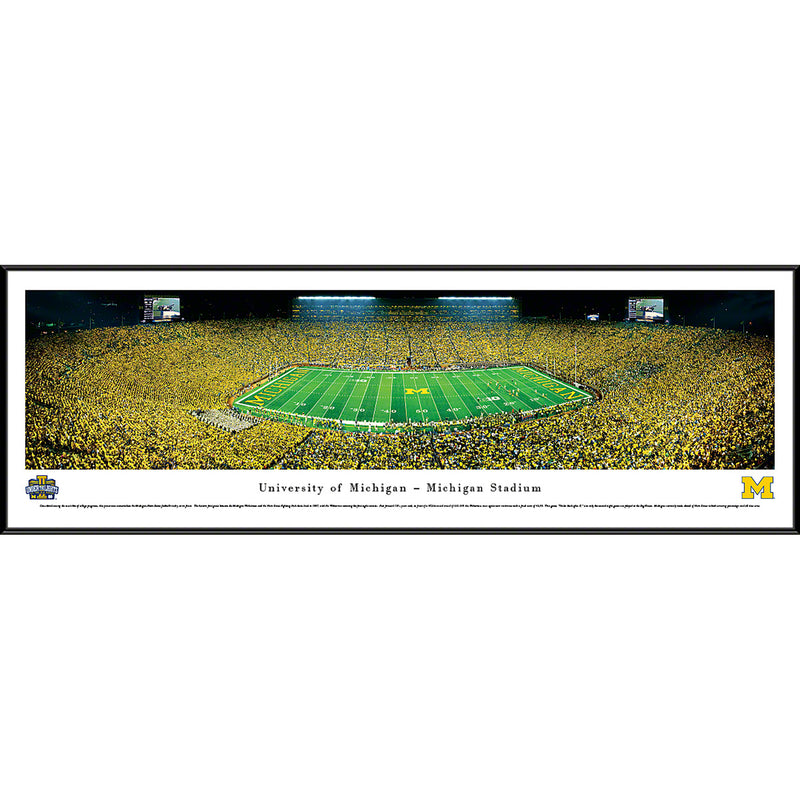 University of Michigan Wolverines Football - 50 Yard - Night - Standard Frame