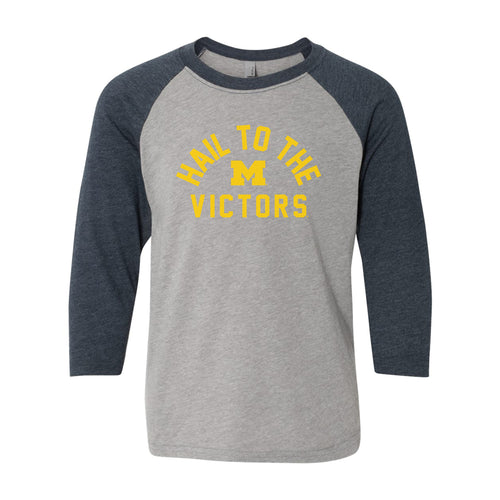 Hail to the Victors Michigan Youth Triblend Raglan - Grey/Navy