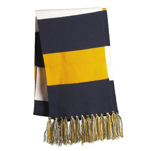 UM Striped Spectator Scarf - Navy/Maize/White