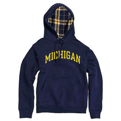 Michigan Plaid Fleece Lined Hoodie - Navy