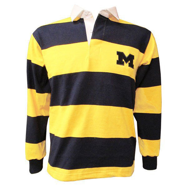 UM Barbarian 4 Inch Stripe Rugby Polo - Gold/Navy