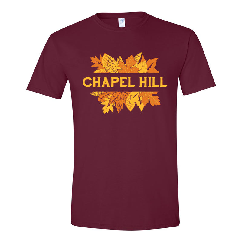 Chapel Hill Fall Leaf Frame Fitted Tee - Maroon