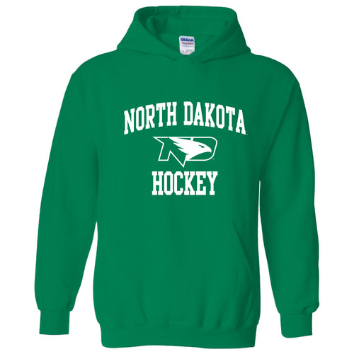 North Dakota Fighting Hawks Arch Logo Hockey Hooded Sweatshirt - Irish Green
