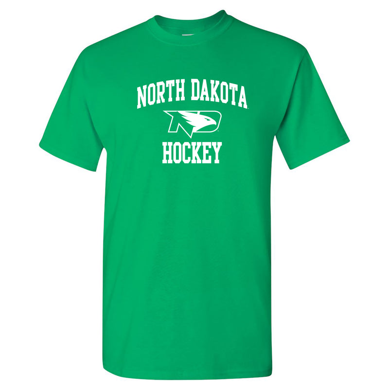 North Dakota Fighting Hawks Arch Logo Hockey Short Sleeve T Shirt - Irish Green