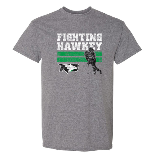 University of North Dakota Fighting Hawks Retro Hockey Short Sleeve T Shirt - Graphite Heather