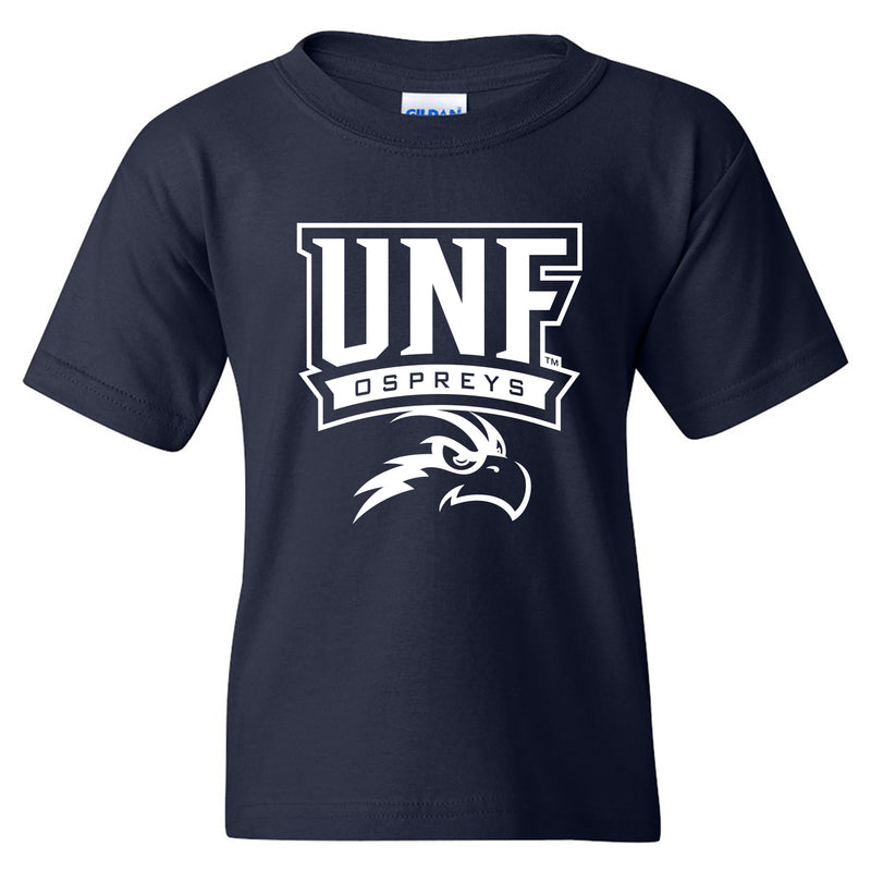 University of North Florida Ospreys Arch Logo Youth Short Sleeve T Shirt - Navy