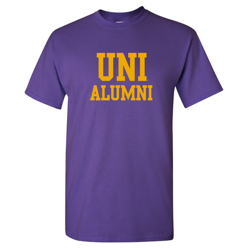 University of Northern Iowa Panthers Basic Block Alumni Short Sleeve T Shirt - Purple