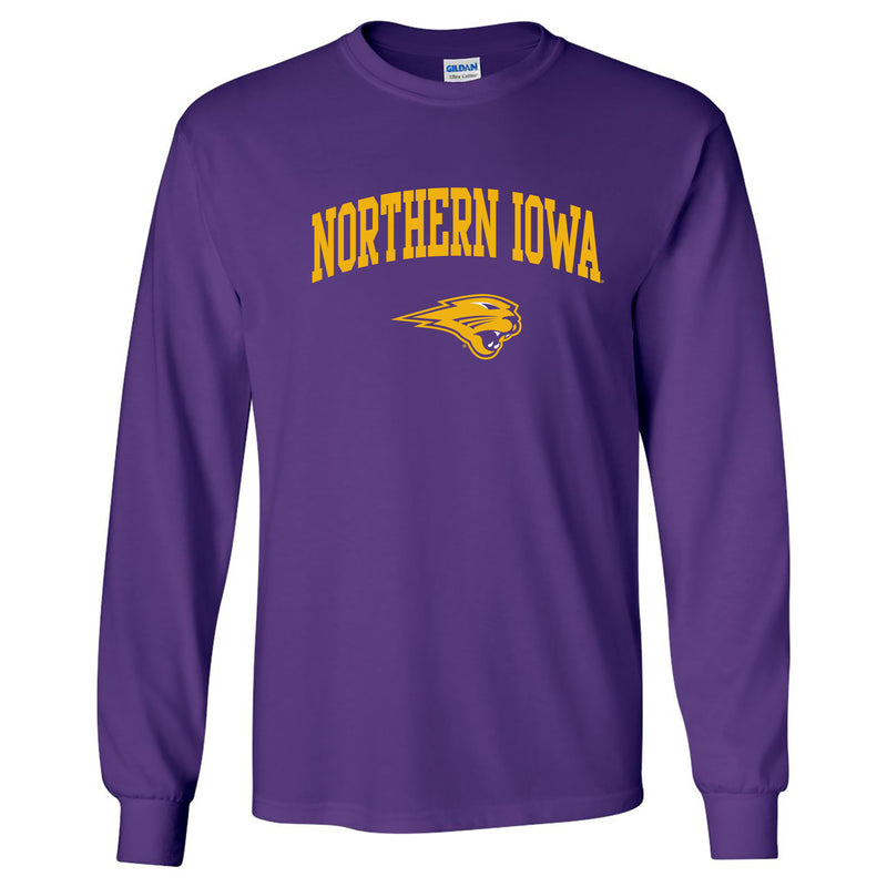 University of Northern Iowa Panthers Arch Logo Long Sleeve T Shirt - Purple