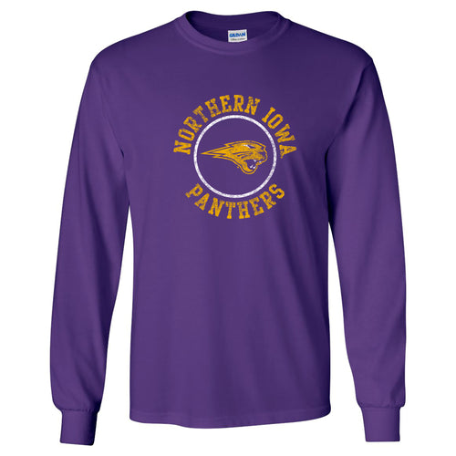 University of Northern Iowa Panthers Distressed Circle Logo Long Sleeve T Shirt - Purple