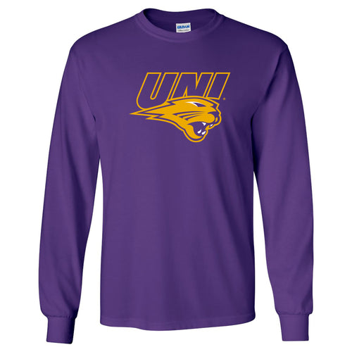 University of Northern Iowa Panthers Primary Logo Long Sleeve T Shirt - Purple