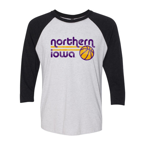 University of Northern Iowa Panthers Basketball Bubble Next Level Raglan T Shirt - Heather White/Vintage Black