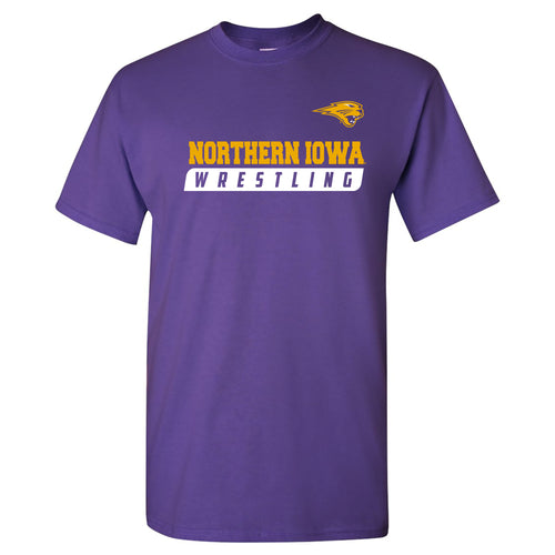 University of Northern Iowa Panthers Wrestling Slant Basic Cotton Short Sleeve T Shirt - Purple