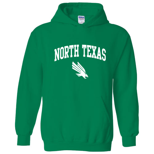 University of North Texas Mean Green Arch Logo Cotton Hoodie - Irish Green