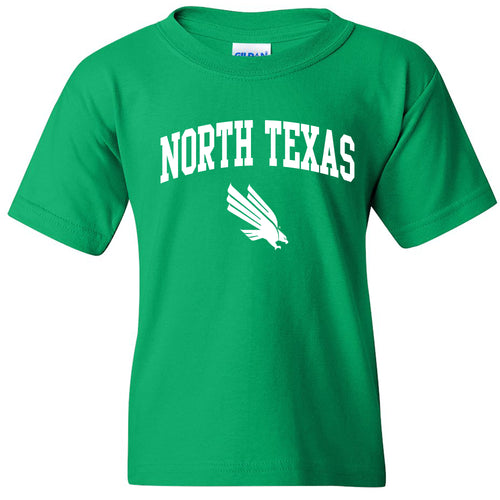 University of North Texas Mean Green Arch Logo Cotton Youth T-Shirt - Irish Green