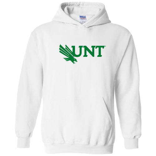 University of North Texas Mean Green Primary Logo Cotton Hoodie - White
