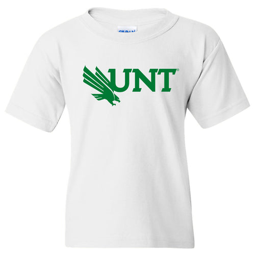 University of North Texas Mean Green Primary Logo Cotton Youth T-Shirt - White