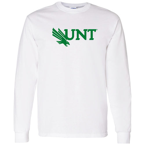 University of North Texas Mean Green Primary Logo Cotton Long Sleeve T-Shirt - White