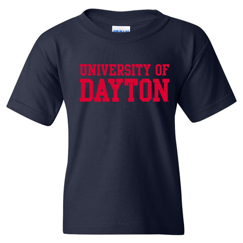 University of Dayton Flyers Basic Block Youth Short Sleeve T Shirt - Navy