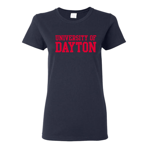 University of Dayton Flyers Basic Block Womens Short Sleeve T Shirt - Navy
