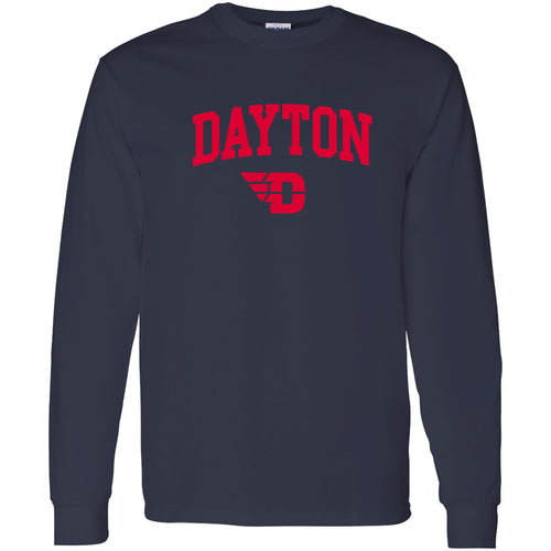 University of Dayton Flyers Arch Logo Long Sleeve T Shirt - Navy