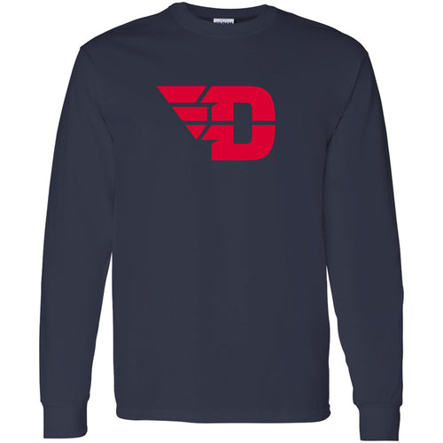University of Dayton Flyers Primary Logo Long Sleeve T Shirt - Navy