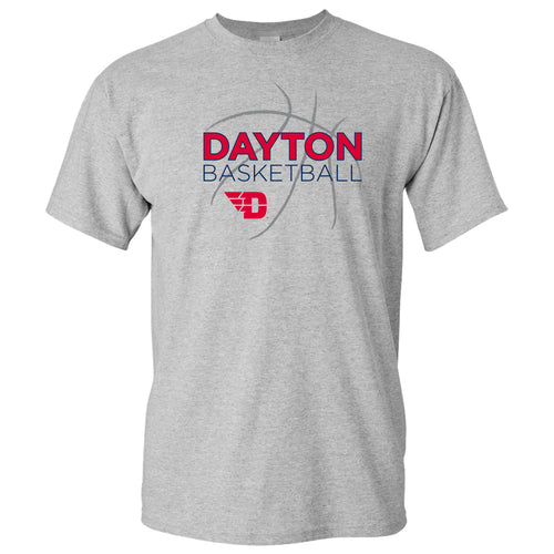 University of Dayton Flyers Basketball Sketch Cotton Short Sleeve T Shirt - Sport Grey