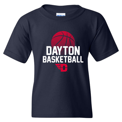 University of Dayton Flyers Basketball Flux Cotton Youth Short Sleeve T Shirt - Navy