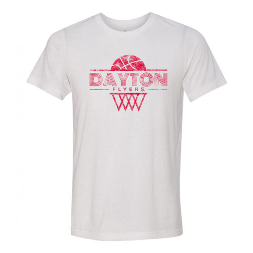 University of Dayton Flyers Oblique Hoop Canvas Triblend Short Sleeve T-Shirt - Solid White