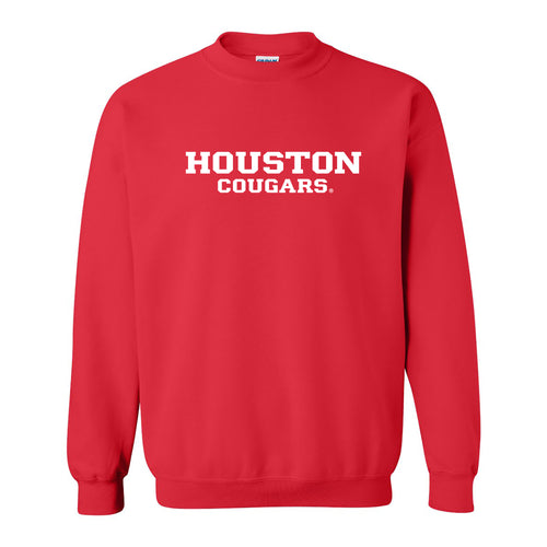 University of Houston Cougars Basic Block Crewneck Sweatshirt - Red