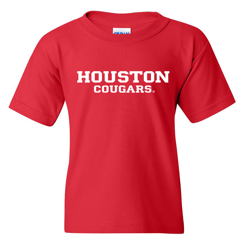 University of Houston Cougars Basic Block Youth Short Sleeve T Shirt - Red