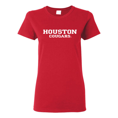 University of Houston Cougars Basic Block Womens Short Sleeve T Shirt - Red