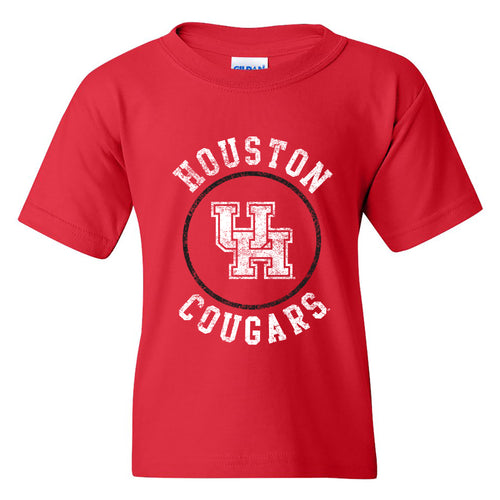 Distressed Circle Logo University of Houston Heavy Cotton Short Sleeve Youth T Shirt - Red