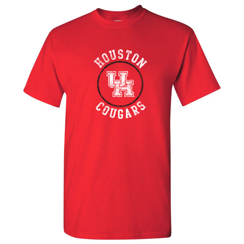 University of Houston Cougars Distressed Circle Logo Basic Cotton Short Sleeve T Shirt - Red