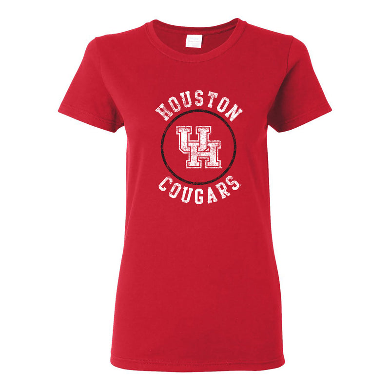 University of Houston Cougars Distressed Circle Logo Basic Cotton Short Sleeve Womens T Shirt - Red