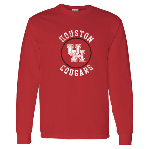 Distressed Circle Logo University of Houston Heavy Cotton Long Sleeve - Red
