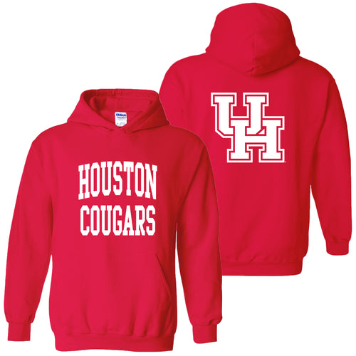 University of Houston Cougars Front Back Print Heavy Blend Hoodie - Red