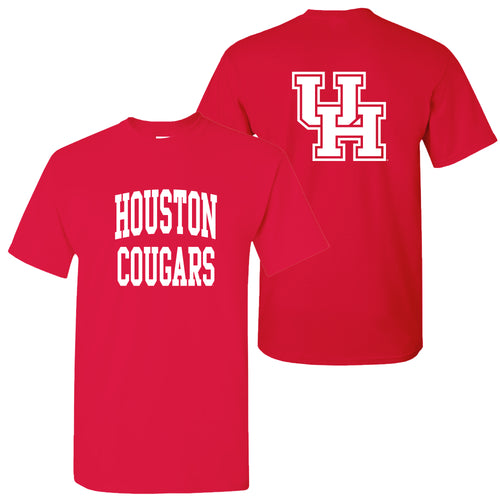University of Houston Cougars Front Back Print Short Sleeve T Shirt - Red