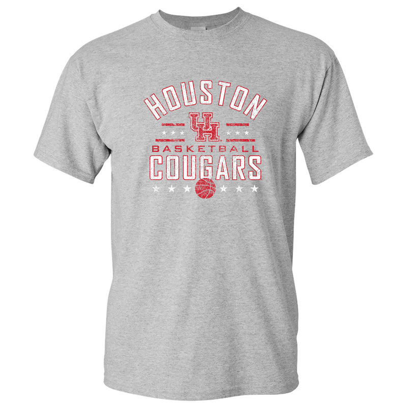 University of Houston Cougars Basketball Arch Stars Short Sleeve T Shirt - Sport Grey