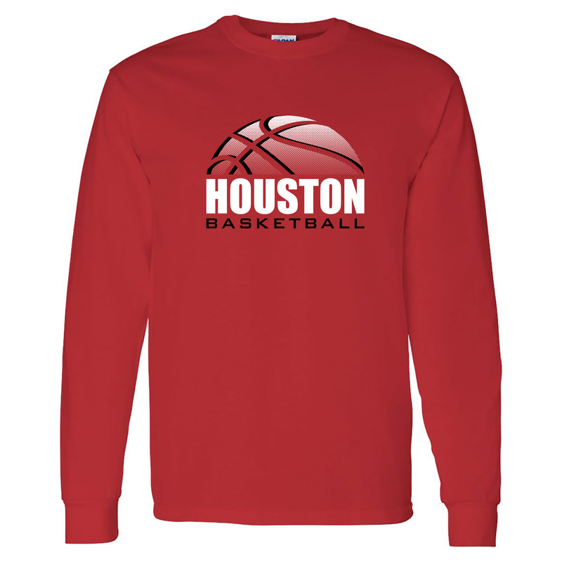 University of Houston Cougars Basketball Shadow Long Sleeve T-Shirt - Red