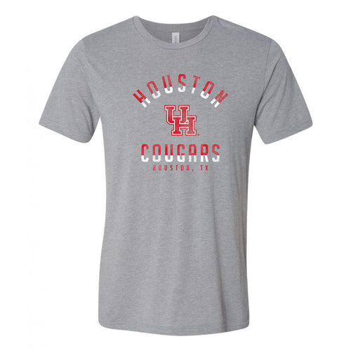 University of Houston Cougars Division Arch Canvas Triblend Short Sleeve T Shirt - Athletic Grey