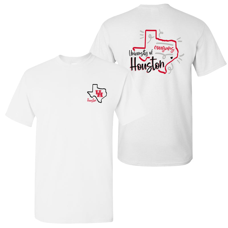 University of Houston Cougars Playful Sketch Short Sleeve T Shirt - White