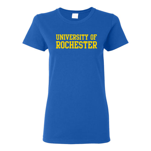University of Rochester Yellowjackets Basic Block Womens Short Sleeve T Shirt - Royal