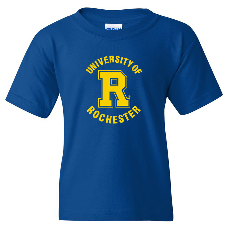 University of Rochester Yellowjackets Arch Logo Youth Short Sleeve T Shirt - Royal